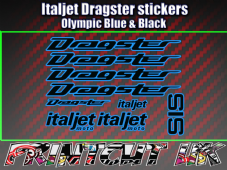 Italjet Dragster Decals Stickers OLYMPIC BLUE & BLACK 9 piece 50 70 125 172 180